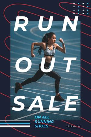 Plantilla de diseño de Running Shoes Sale with Woman Runner at Stadium Pinterest