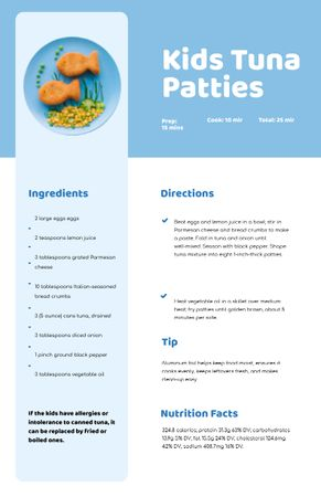 Kids Tuna Patties on Plate Recipe Card Modelo de Design