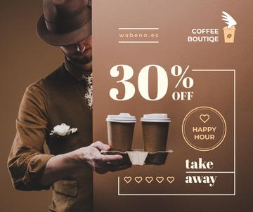Coffee Shop Promotion Man Holding Coffee To-go | Facebook Post Template