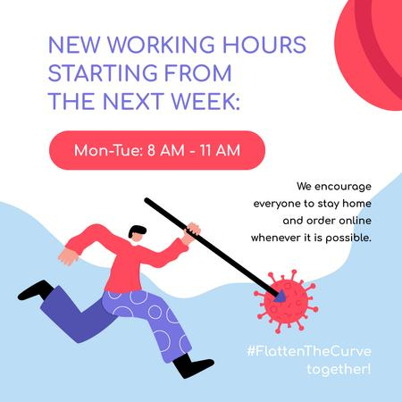 Working Hours Rescheduling with man beating Virus Instagram Modelo de Design
