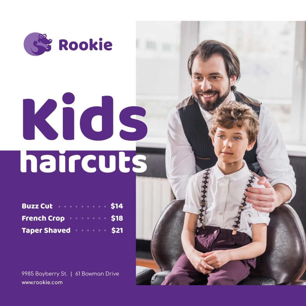 Kids Salon Ad Boy at Haircut Instagram Design Template
