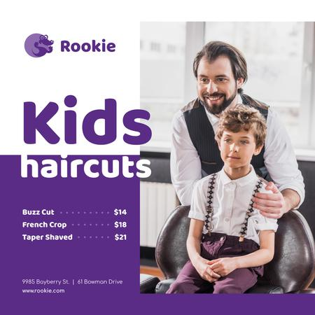Kids Salon Ad Boy at Haircut Instagram Design Template
