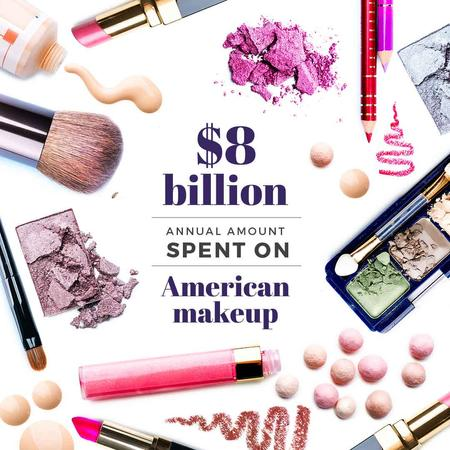 Plantilla de diseño de Makeup statistics with Cosmetics Kit Instagram