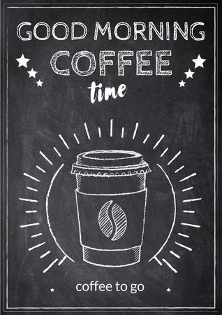 Modèle de visuel Chalk Illustration of cup of Coffee - Poster