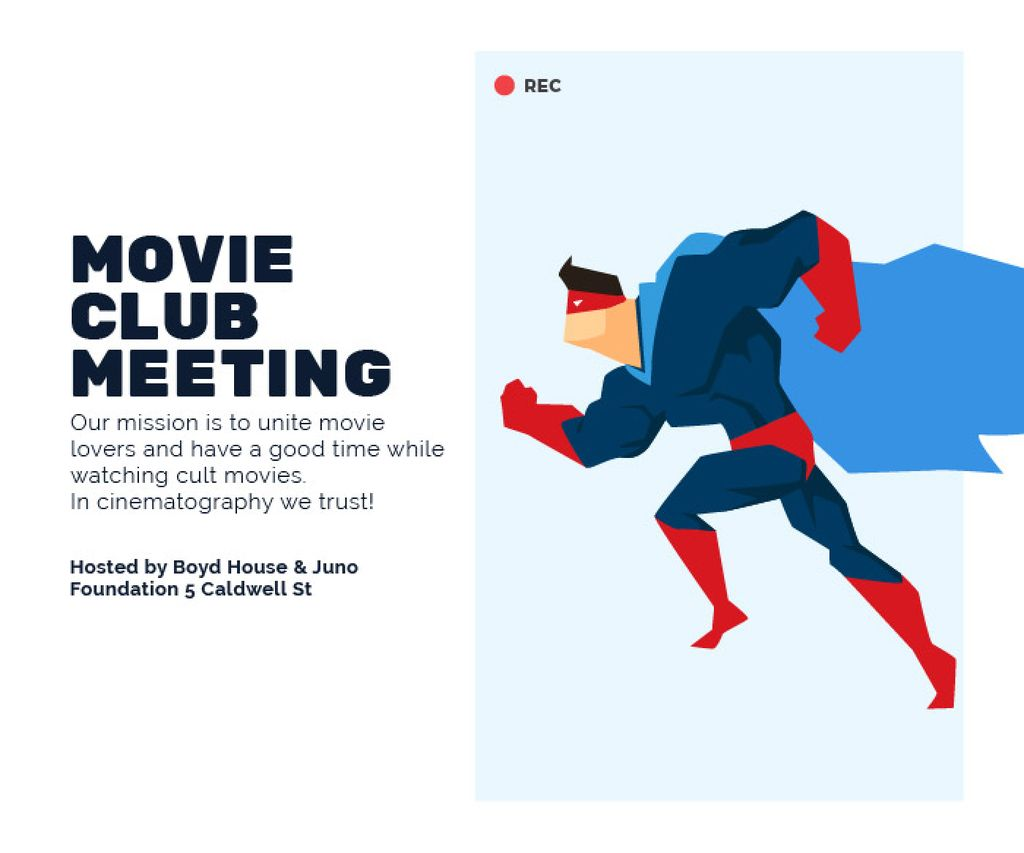 Movie Club Meeting Man in Superhero Costume | Large Rectangle Template — Crear un diseño
