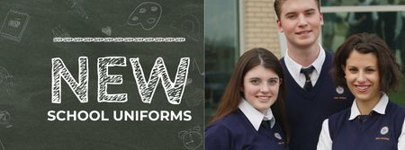 Plantilla de diseño de Back to School Sale Students in blue uniform Facebook cover