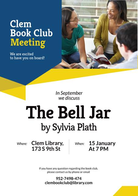Book club meeting Invitation Poster Modelo de Design