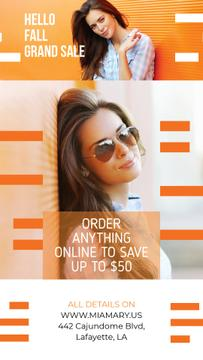 Fashion Promotion Beautiful Girl by Orange Wall | Vertical Video Template
