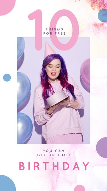 Template di design Woman holding Birthday cake Instagram Story