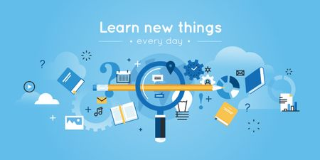 Plantilla de diseño de learn new things every day, creative thinking concept Image