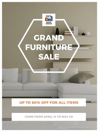 Furniture Sale Modern Interior in Light Colors Poster US – шаблон для дизайну