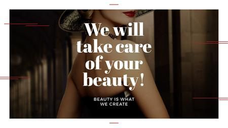 Ontwerpsjabloon van Title van Beauty Services Ad with Fashionable Woman