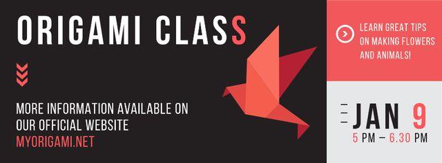 Plantilla de diseño de Origami class Announcement with paper bird Facebook cover