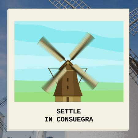 Consuegra Windmill Travelling Spots Animated Post Design Template