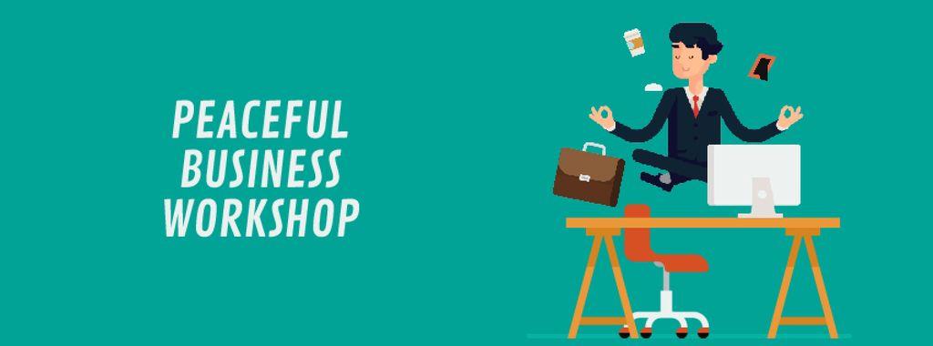 Businessman Meditating at Work | Facebook Video Cover Template — Create a Design