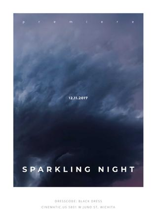 Plantilla de diseño de Sparkling night event Announcement Poster