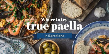 Modèle de visuel Paella Spanish Dish with Bread and Olives - Twitter