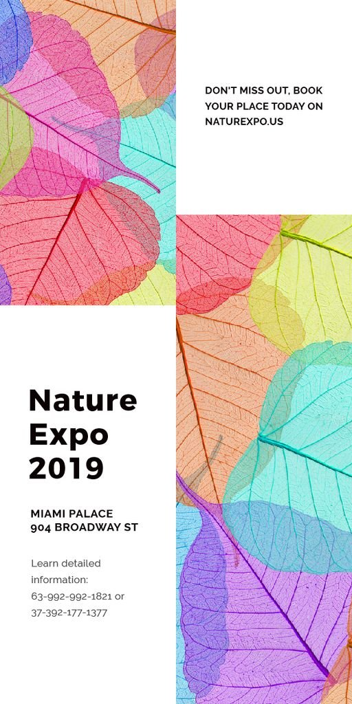 Nature Expo announcement with colorful leaves — Modelo de projeto