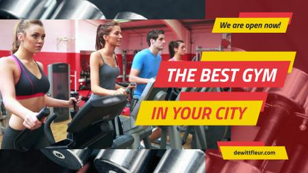 Ontwerpsjabloon van Full HD video van Gym Ticket Offer with People on Treadmills
