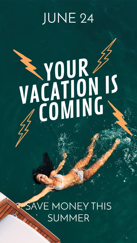 Summer Vacation Offer Girl Swimming in Water — Crea un design