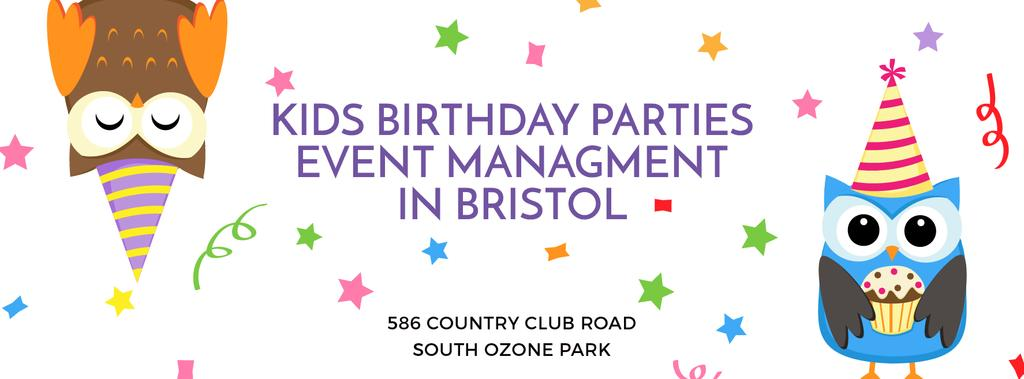 Birthday Party Management Studio Ad with Party Owls — Crea un design