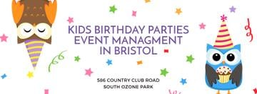 Birthday Party Management Studio Ad Party Owls | Facebook Cover Template