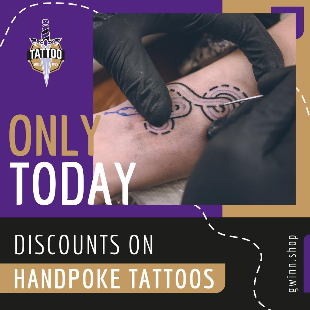 Tattoo Studio Ad Snake Tattoo on Arm | Instagram Post Template — Create a Design
