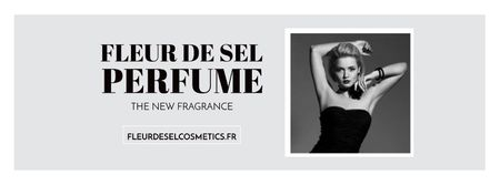Plantilla de diseño de Perfume ad with Fashionable Woman in Black Facebook cover