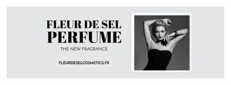 Modèle de visuel Perfume ad with Fashionable Woman in Black - Facebook cover