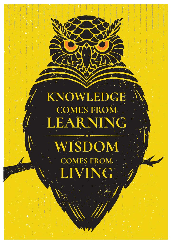 Knowledge quote with owl Poster Design Template