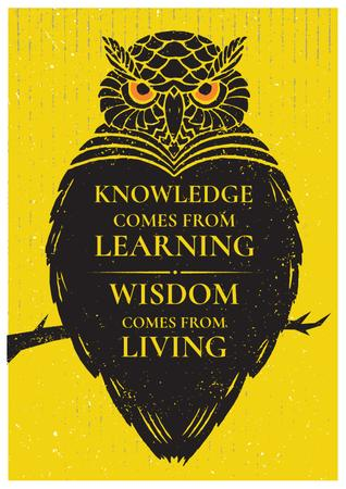 Ontwerpsjabloon van Poster van Knowledge quote with owl