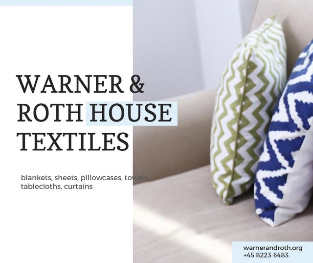 Plantilla de diseño de Home Textiles Ad Pillows on Sofa Facebook