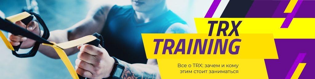 Gym Ticket Offer with Man Resistance Training in Blue — ein Design erstellen