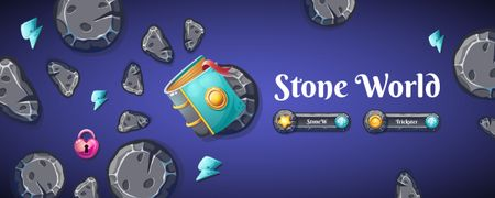 Plantilla de diseño de Magic Book with Stones and heart-shaped Lock Twitch Profile Banner