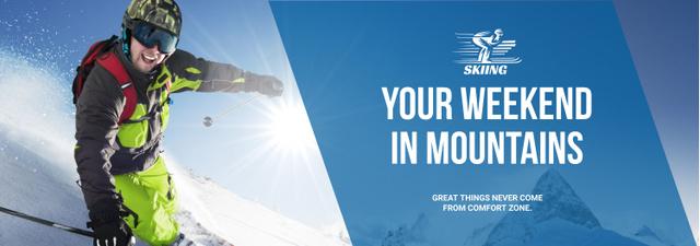 Winter Tour Offer Man Skiing in Mountains Tumblr – шаблон для дизайну