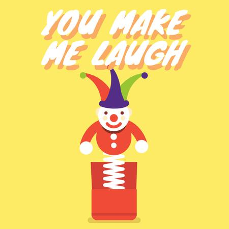 Plantilla de diseño de Happiness Quote with Jumping Jack Toy in Yellow Animated Post