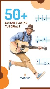 Man Playing Guitar and Jumping | Stories Template