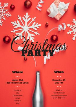 Christmas Party Invitation Champagne Bottle with Decorations