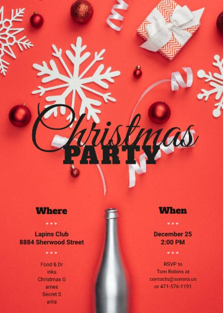 Plantilla de diseño de Christmas Party Invitation Champagne Bottle with Decorations Invitation