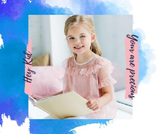Little Smiling Girl Reading Large Rectangle Design Template