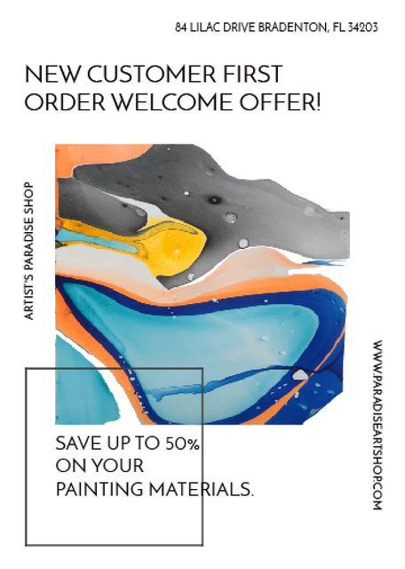 Art Painting Colorful Paint Blots Invitation Design Template