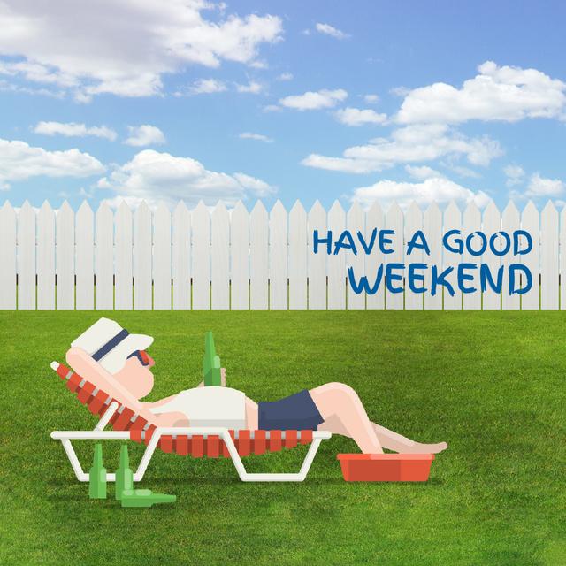 Ontwerpsjabloon van Animated Post van Man Resting With Beer at Backyard