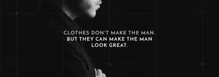 Ontwerpsjabloon van Tumblr van Fashion Quote Businessman Wearing Suit in Black and White