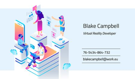 Plantilla de diseño de People Using VR Devices Business card