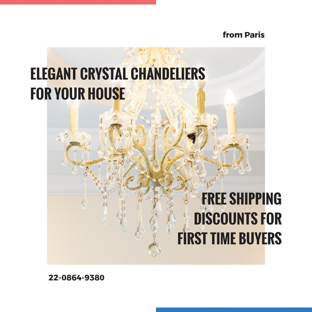 Elegant crystal Chandelier offer Instagram AD – шаблон для дизайну