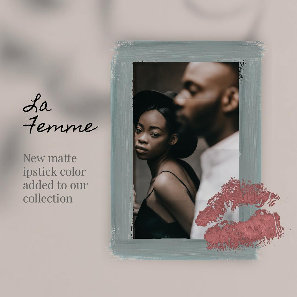 Lipstick Print on Photo of Young Couple | Square Video Template — Create a Design