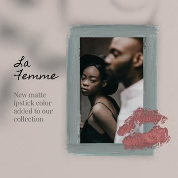 Lipstick Print on Photo of Young Couple | Square Video Template