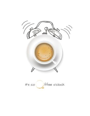 Plantilla de diseño de Cup of Coffee with Alarm Clock illustration T-Shirt