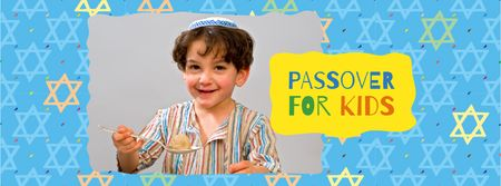 Modèle de visuel Passover Greeting with Jewish Kid - Facebook cover