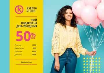 Birthday Sale Offer with Girl Holding Pink Balloons